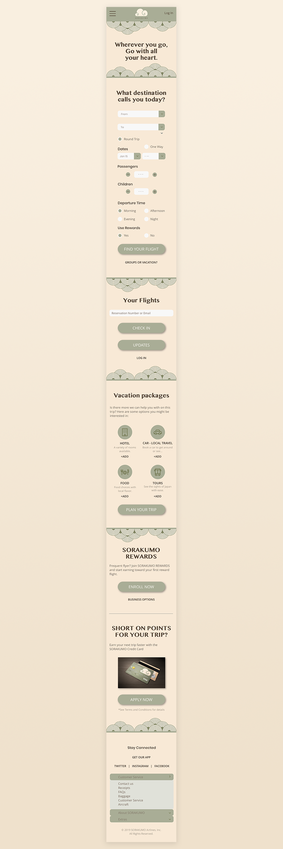 Mobile version of homepage