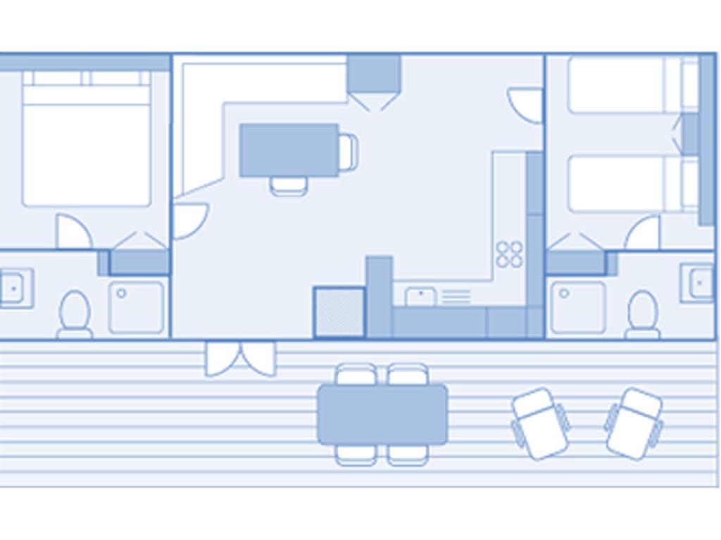 Plan intérieur du mobil home de luxe 2 chambres au camping Bretenoux dans le Lot