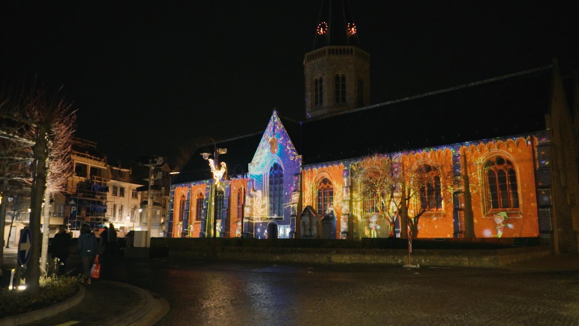 Kerst Videomapping kerk wenduine