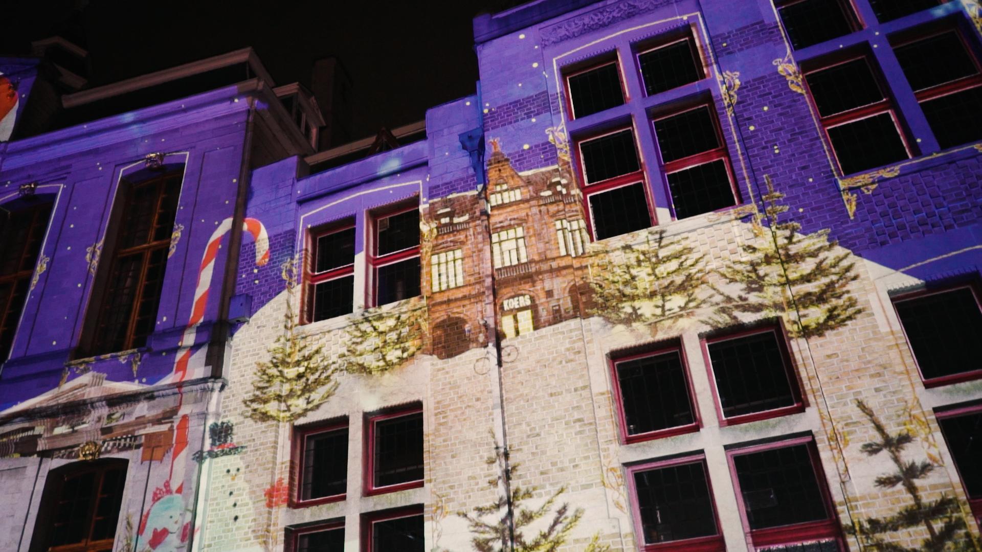 Kerstprojectie - kerst videomapping Roeselare Stadhuis en stadshal