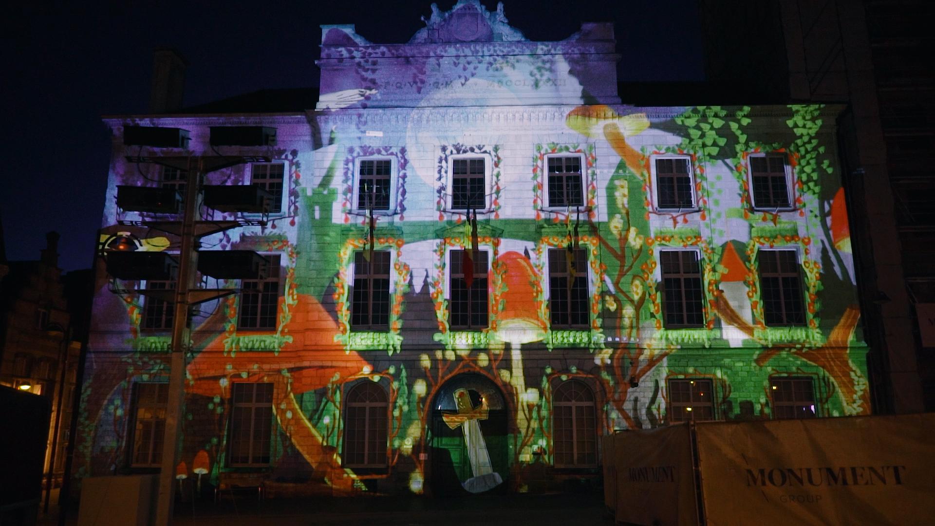 Magische videomapping Stadhuis Menen