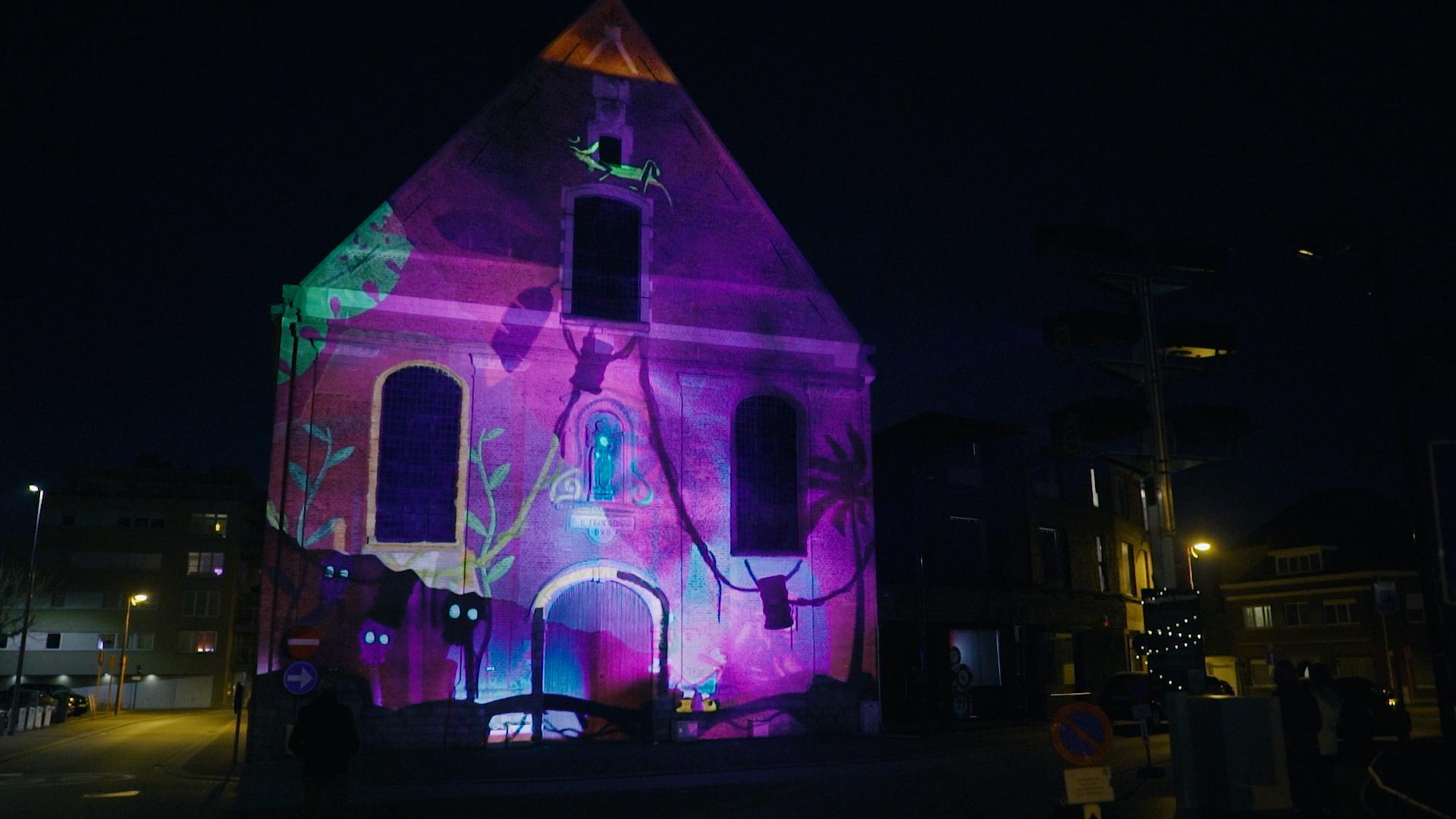 Magische videomapping Sint-Franciscuskerk Menen