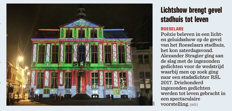 Krantenartikel videomapping stadhuis Roeselare Gedichtendag