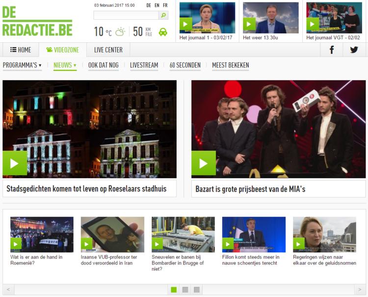 VRT NWS artikel videomapping stadhuis Roeselare Gedichtendag
