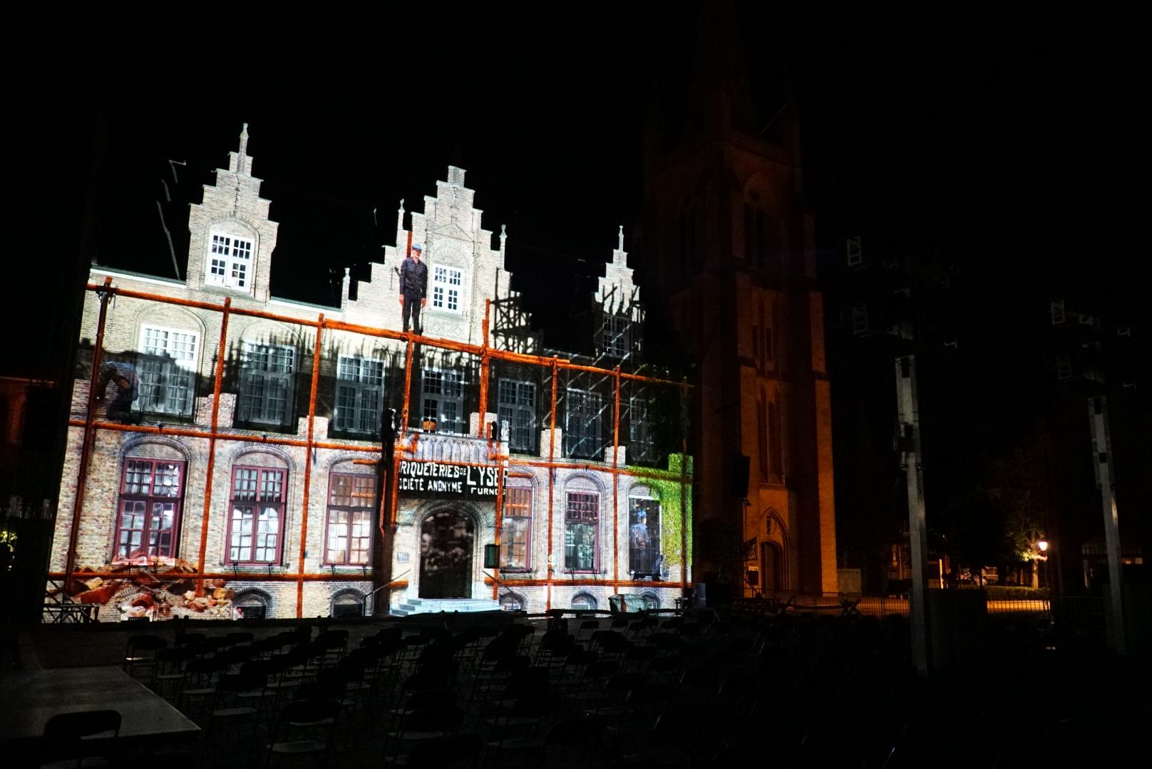 Videomapping Wederopbouw Stadhuis Nieuwpoort