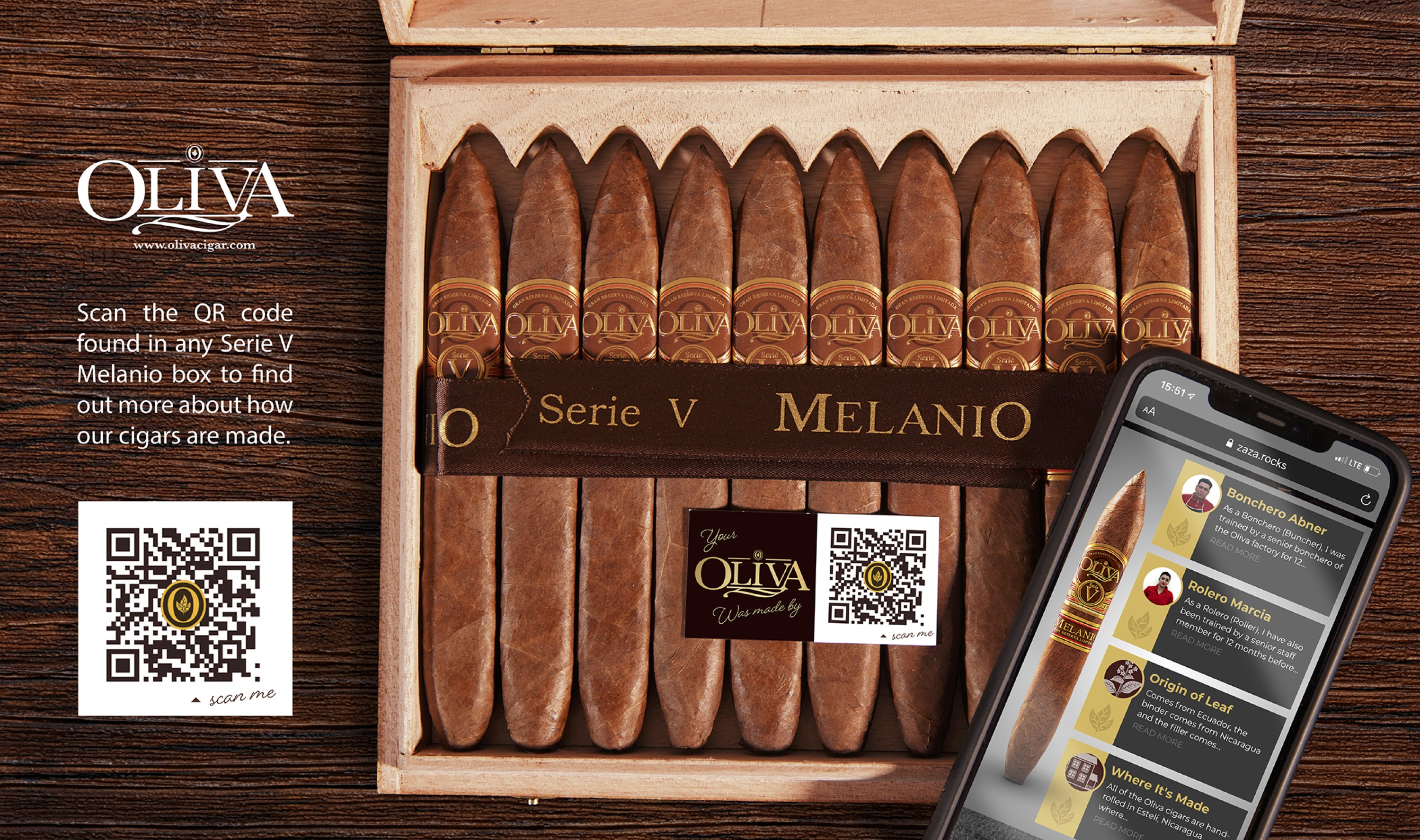 Product shot of an Oliva box of cigars with a twintag on.