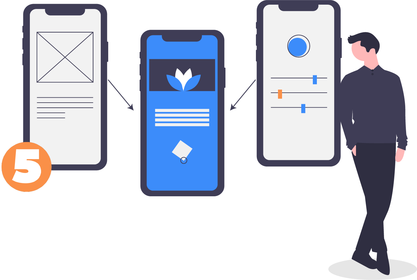 Product-led communication illustration about validating the sprint designs.