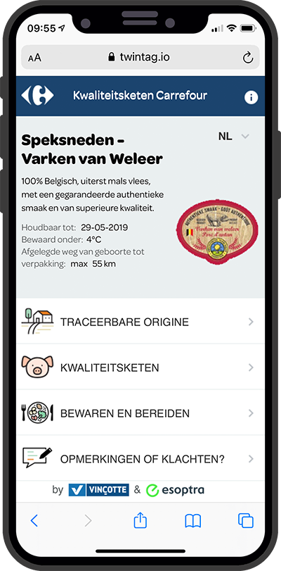 Mock-up of the Carrefour interface.