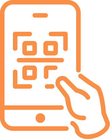 Icon of a hand scanning a QR code