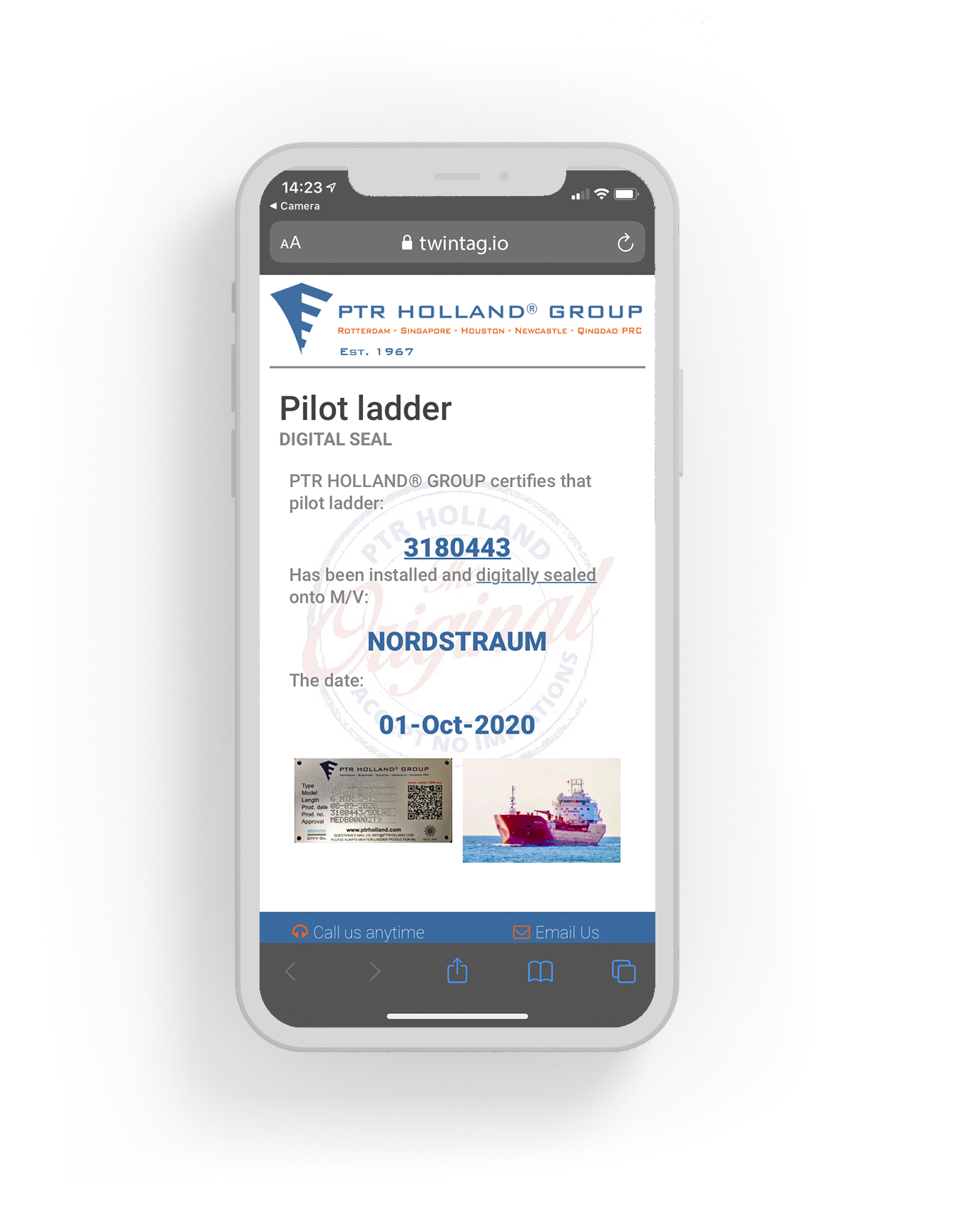 Smartphone mock-up with information on a ladder.