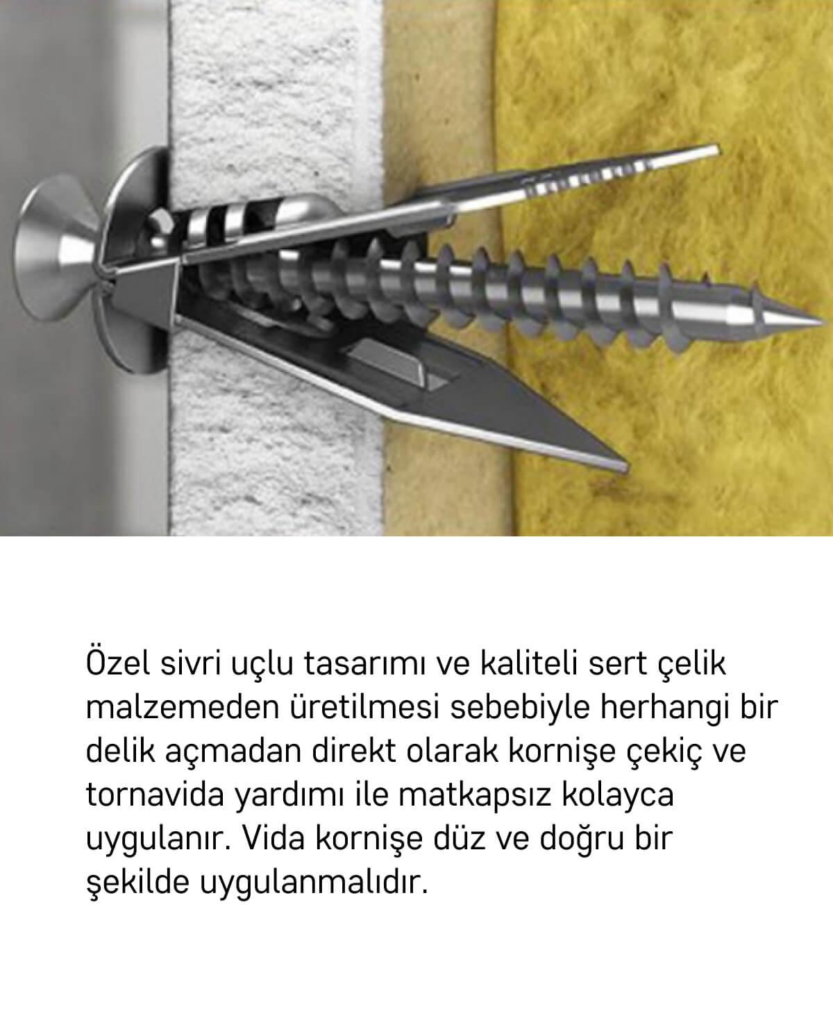 Slimflex korniş montaj seti alçıpan yüzeyler 2