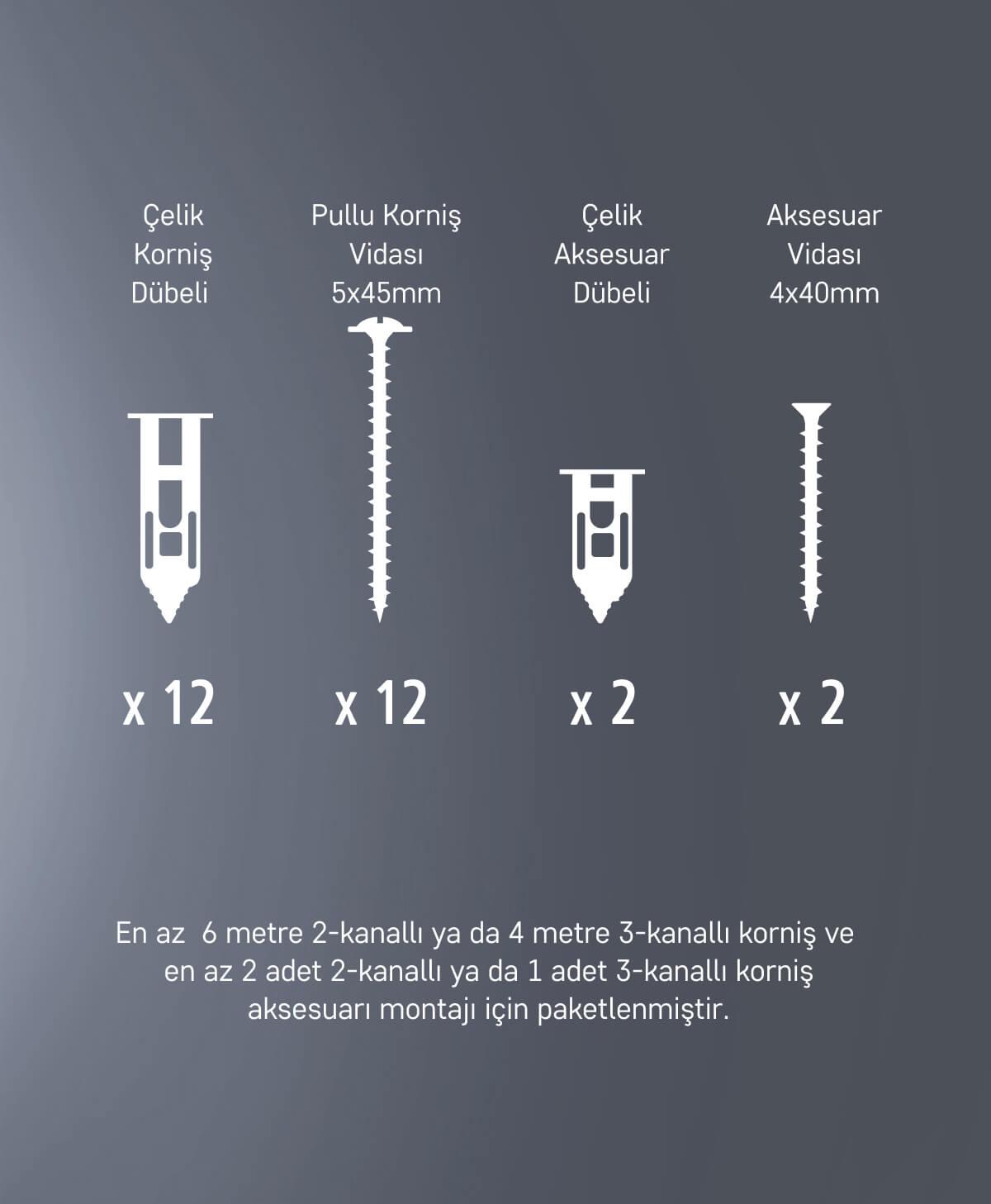 Slimflex korniş montaj seti alçıpan yüzeyler 1