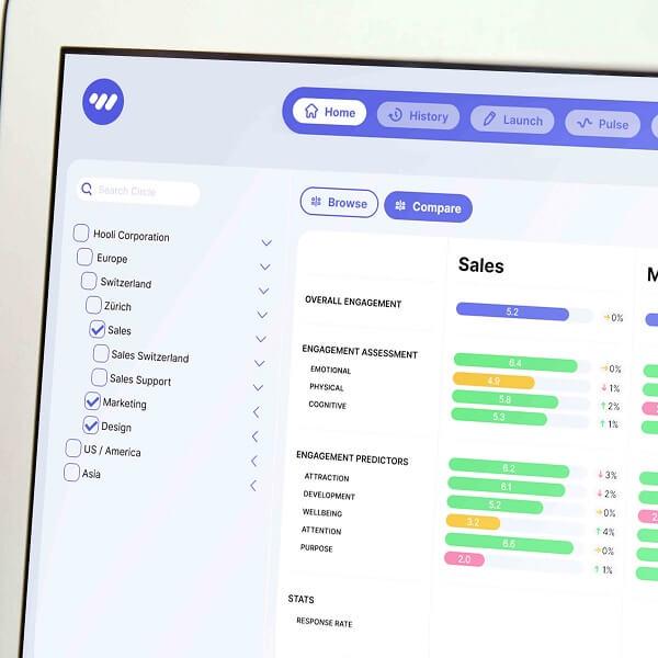 Mockup pulse team feedback overview