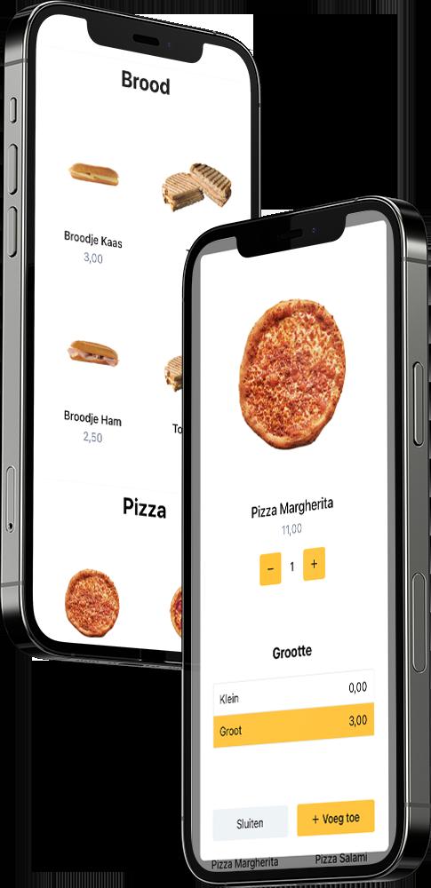 Twee telefoons met daarop de Online Kiosk te zien. Deze kan via een QR code getoond worden. Een overzicht van het visuele menu, waarin een product te zien is, een add-on, een extra aanbeveling en de mogelijkheid om sauzen toe te voegen.