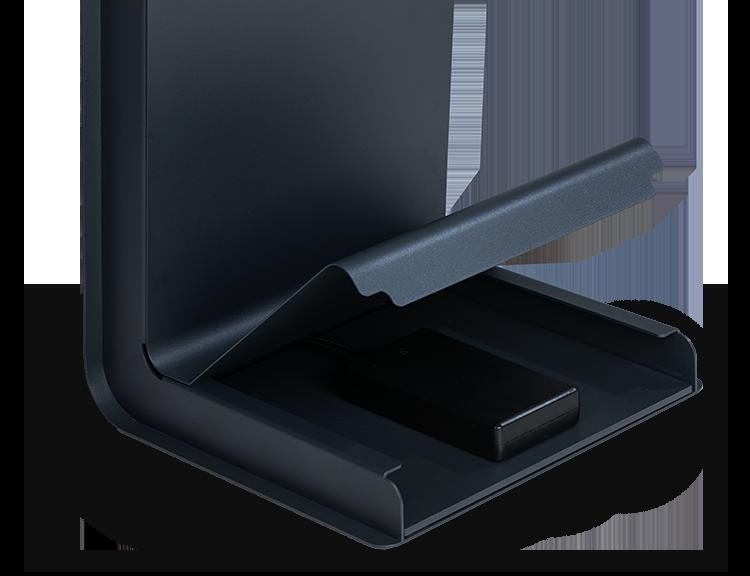De mogelijkheid om extra hardware toe te voegen, waarbij deze afbeelding laat zien dat er een batterij toegevoegd kan worden.