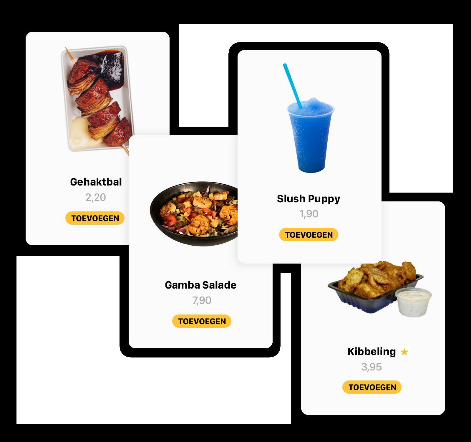 Een aantal visuele producten die de software tonen in de bestelzuil van Onesix