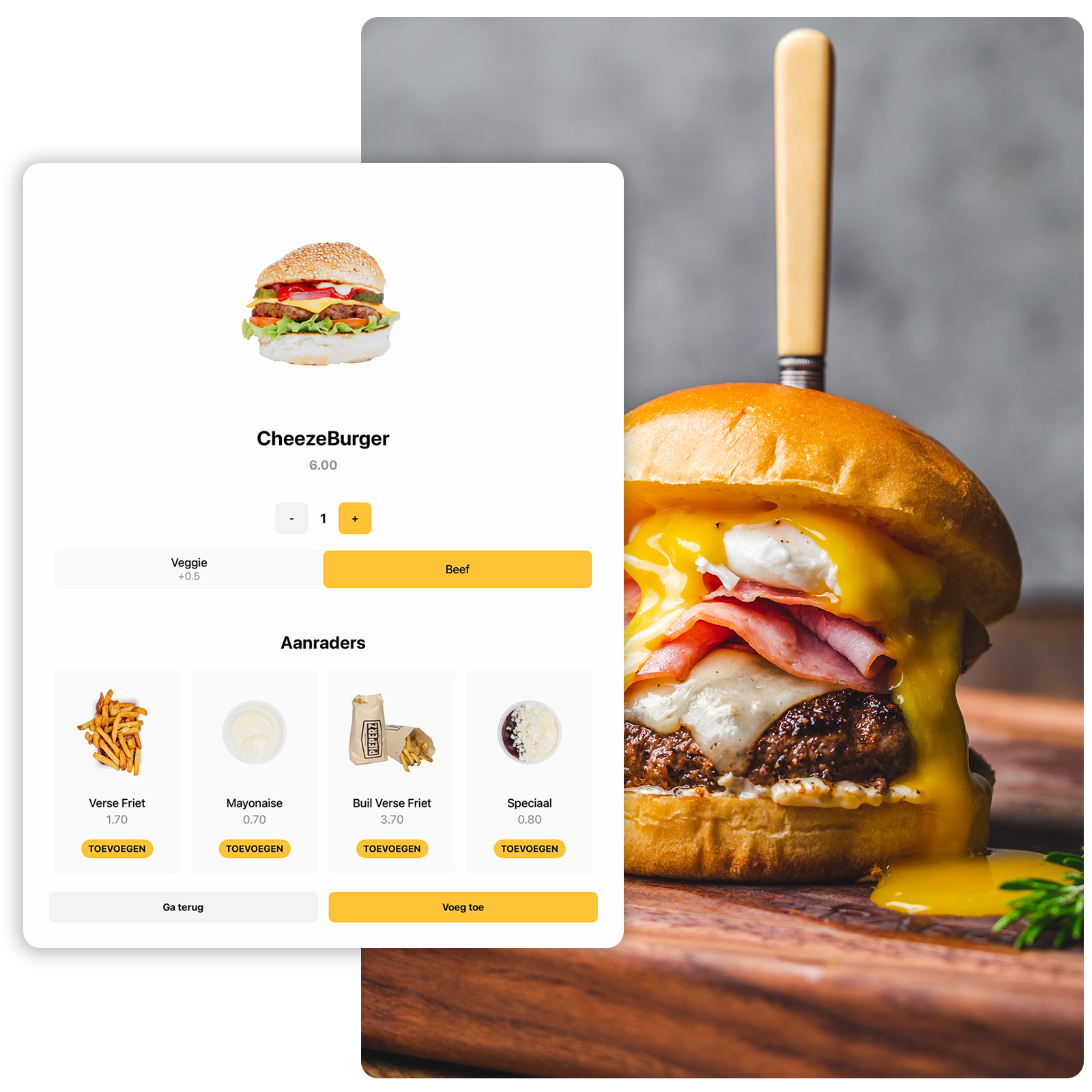 Dit is een afbeelding van het menu van de Onesix Kiosk, waarbij een hamburger te zien is die is besteld bij een van onze klanten, Kwalitaria.