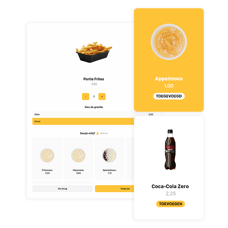 Een overzicht van het visuele menu, waarin een product te zien is, een add-on, een extra aanbeveling en de mogelijkheid om sauzen toe te voegen.