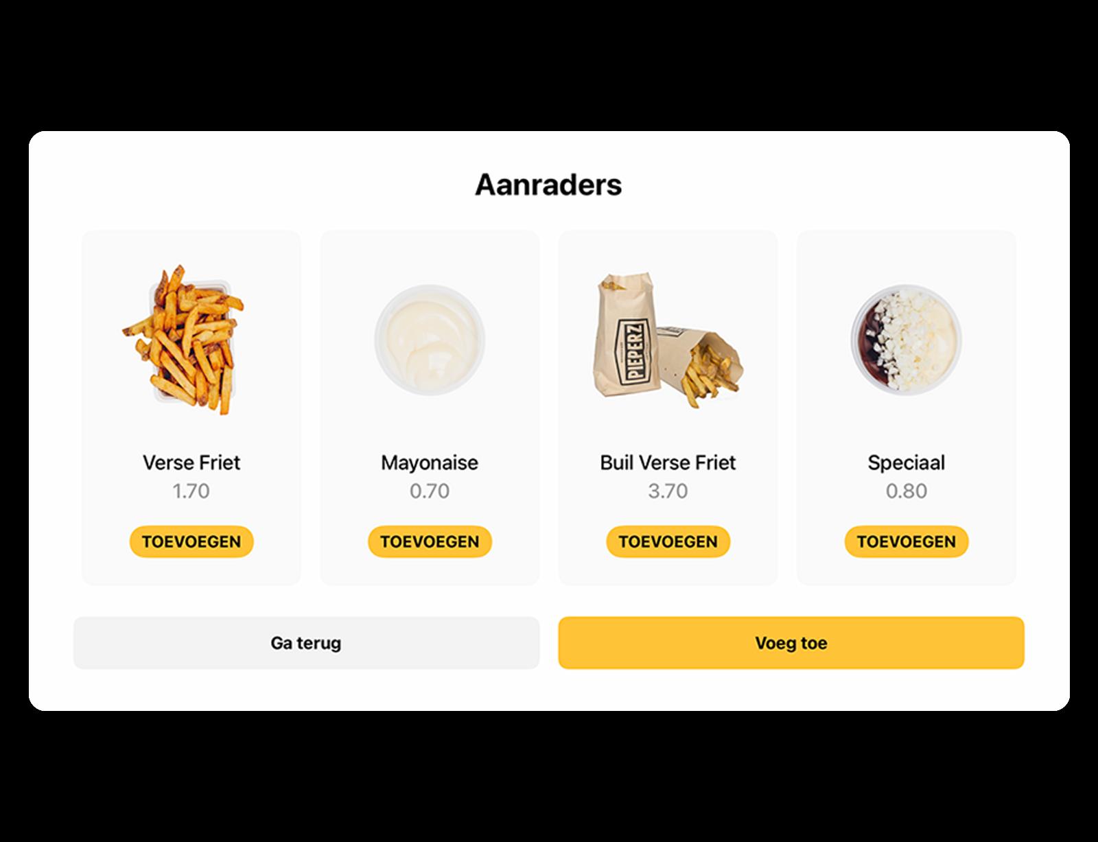 Een overzicht van alle aanbevelingen in het menu