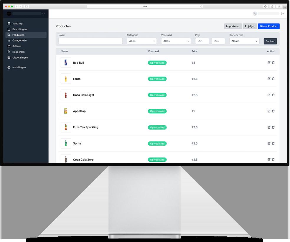 Een overzicht van alle bestellingen, zodat de ondernemer alle controle heeft op zijn zaak en de bestellingen die geplaatst worden via de kiosk. Dit is Onesix Dashboard