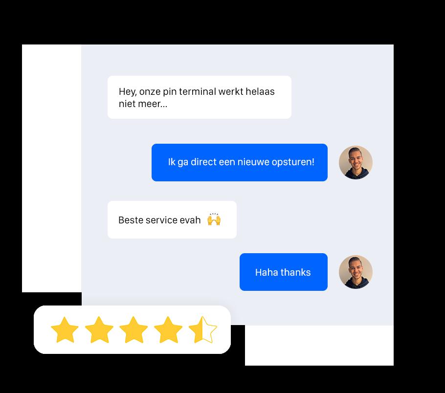 Onesix biedt 24/7 support. Een afbeelding van een gesprek tussen Zoe Visser, de operations manager en een klant.