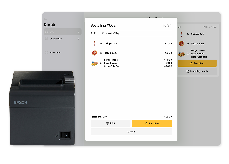 Een overzicht van 1 bestelling, icm met de mogelijkheid om het te printen via de aangegeven bon printer.