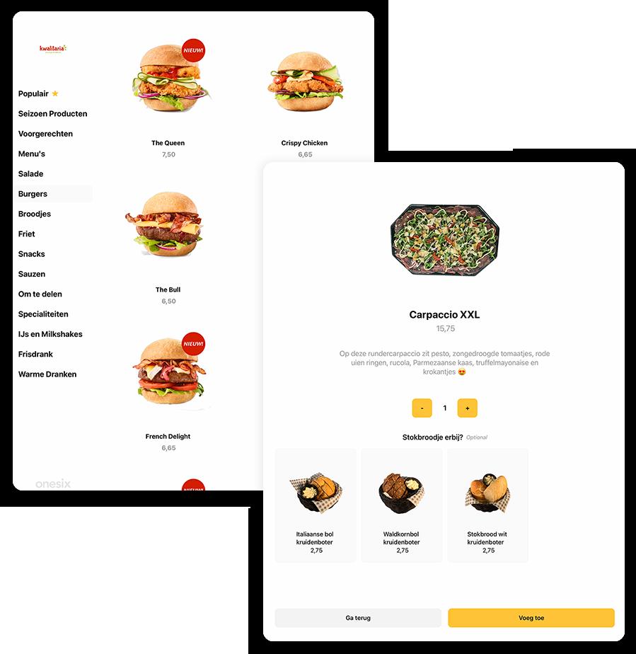 Een visueel overzicht van het menu in de bestelzuil van Onesix Kiosk. Daarnaast is het design van het menu en de software te zien.