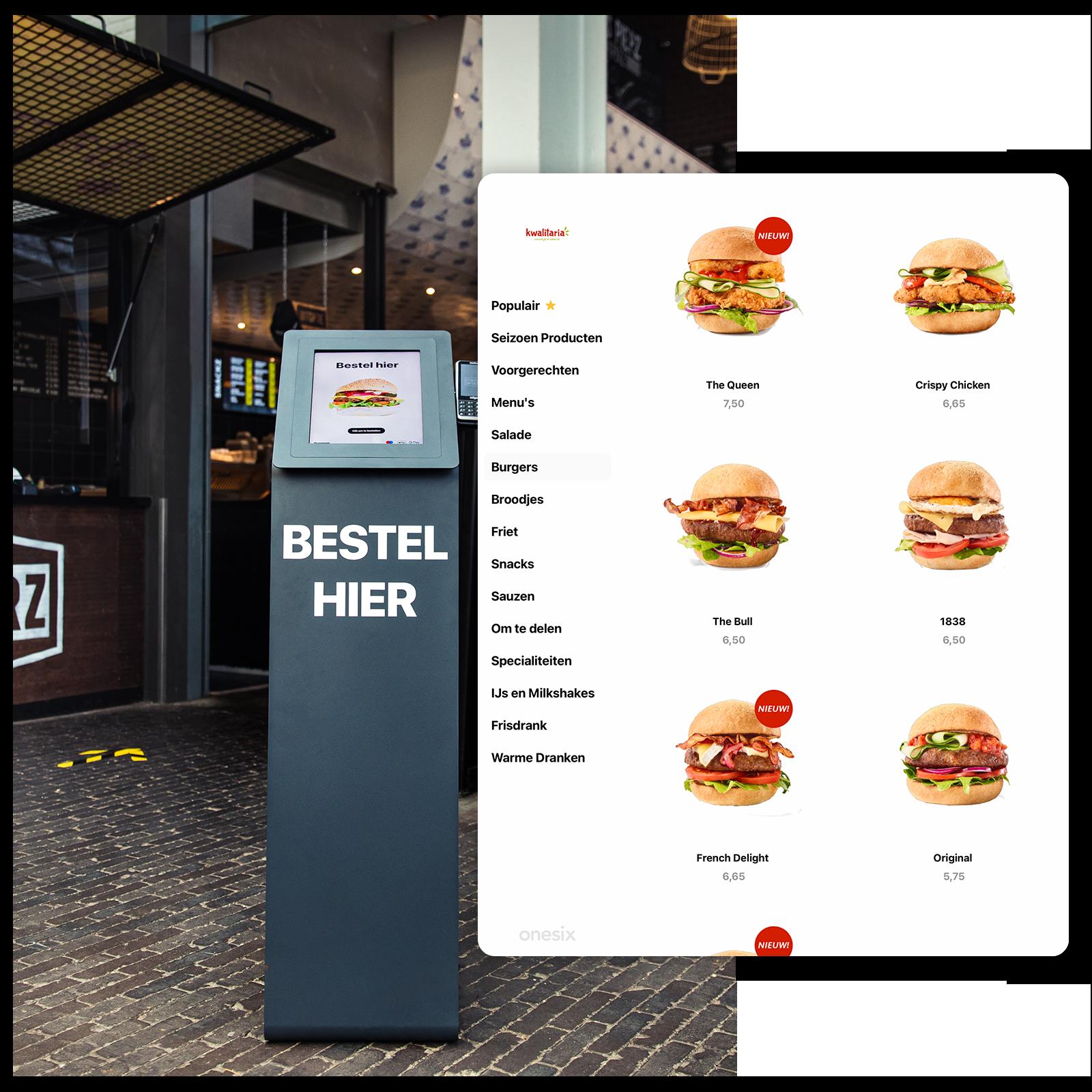 Onesix bestelkiosk in één van de locaties van Pieperz. Pieperz is een snackbarketen, die Onesix bestelzuil gebruiken om hun gasten te laten bestellen. Daarnaast is het visuele menu te zien, met alle mogelijke burgers en producten die Pieperz laat zien.