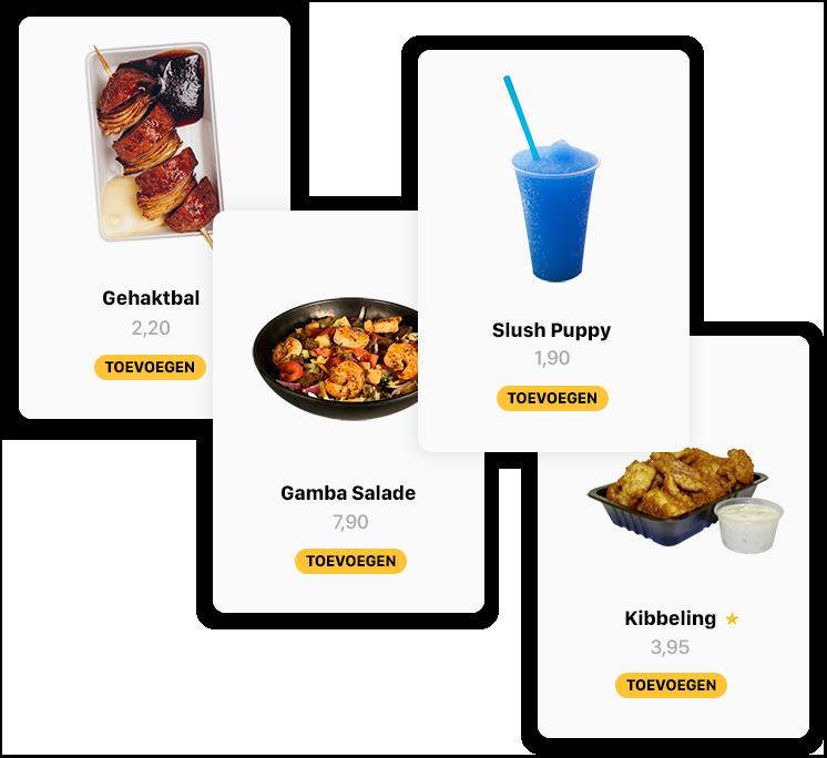 Dit is een visueel overzicht het design en hoe Onesix de producten in het menu toont. De bestelzuil zorgt vanwege het visuele menu voor een hogere omzet