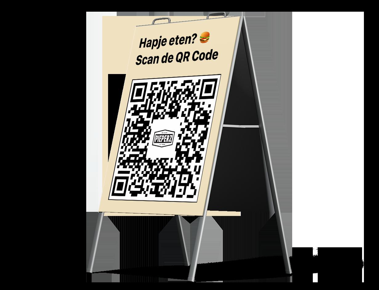 Dit is een marketing bord waarop de QR code van een van onze klanten, Kwalitaria, is te zien. Mensen kunnen deze code scannen om vervolgens hun bestelling te plaatsen.