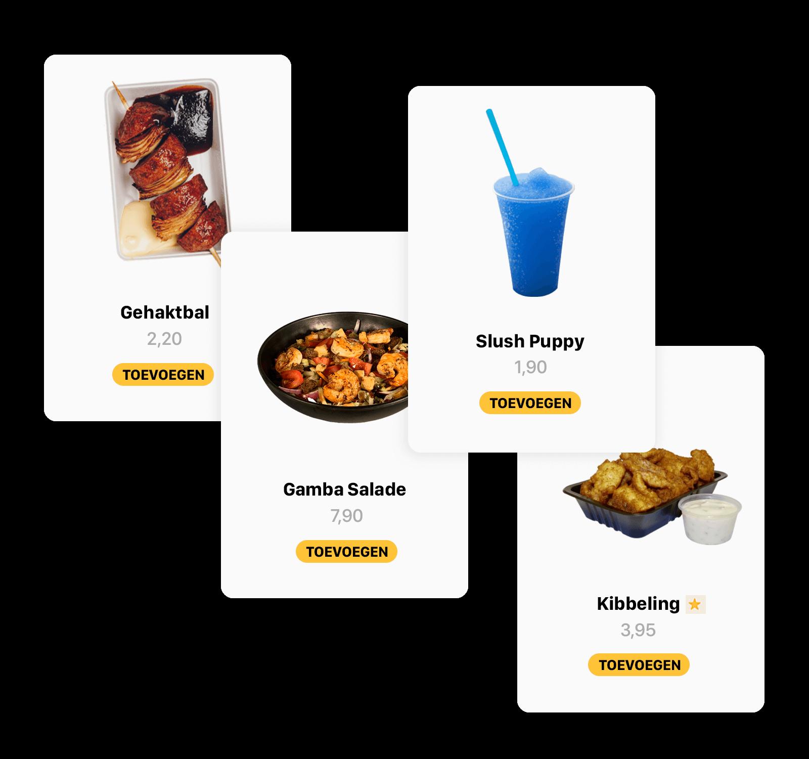 Getoonde add-ons binnen het menu van Online QR / Bestelzuil van Onesix