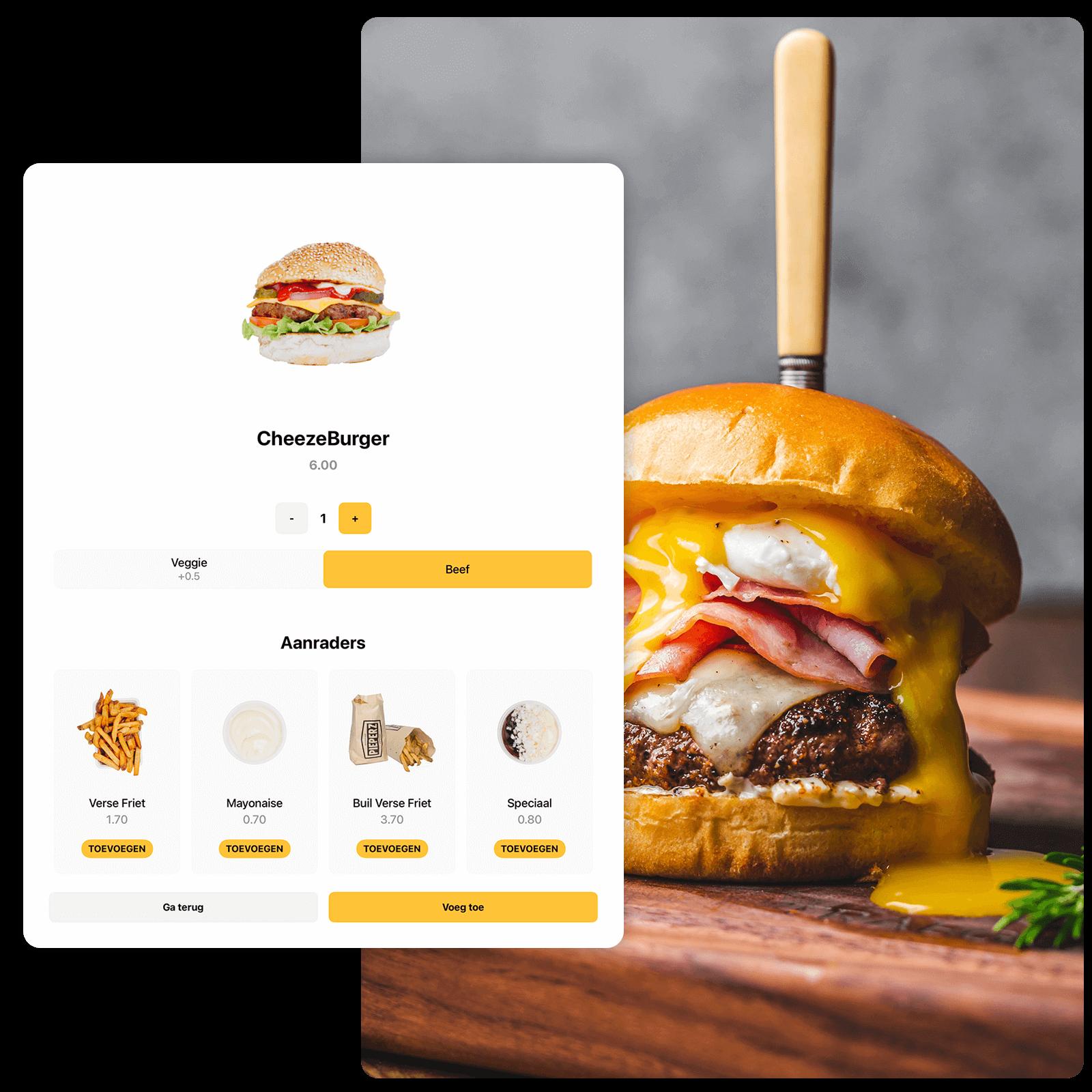 Foto van het menu binnen Kiosk en een cheeseburger ernaast. Dit gebeurt in het menu van Kwalitaria.
