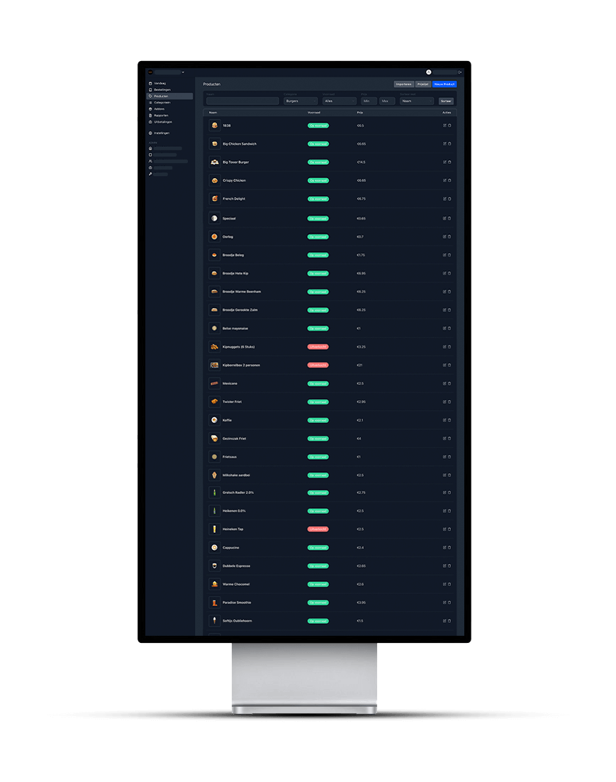 De Dark Mode versie van het dashboard wat Onesix gebruikt om hun klanten te tonen hoeveel orders er binnen komen.