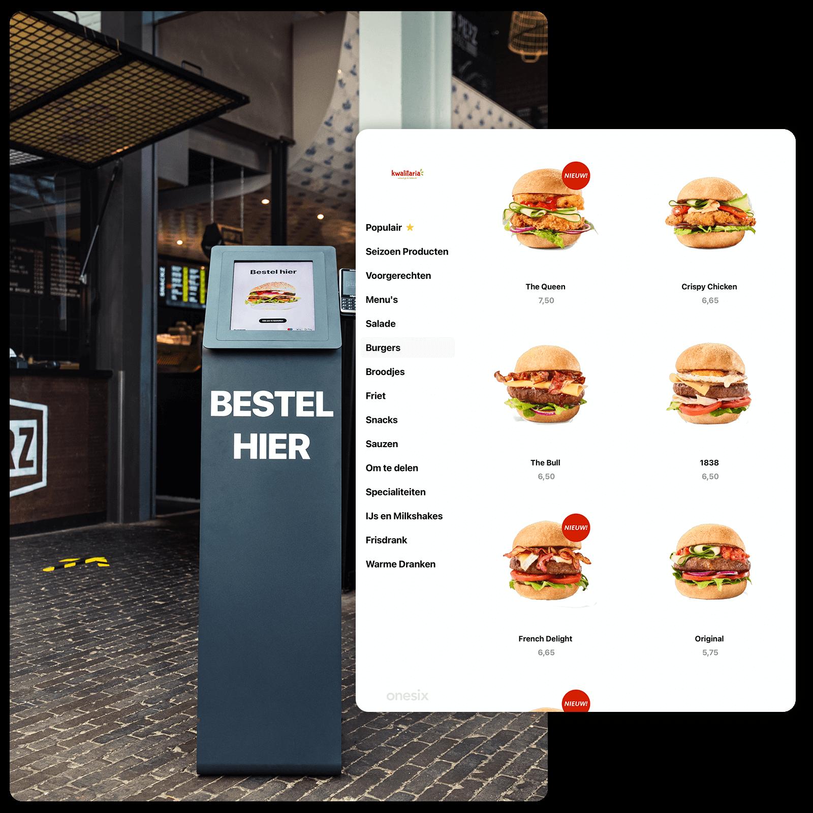 Dit is de Onesix Kiosk bij Pieperz in Veghel. De bestelzuil laat zien dat gasten via de bestelzuil kunnen bestellen, wat snelheid oplevert. Hierdoor kunnen gasen makkelijk bestellen.