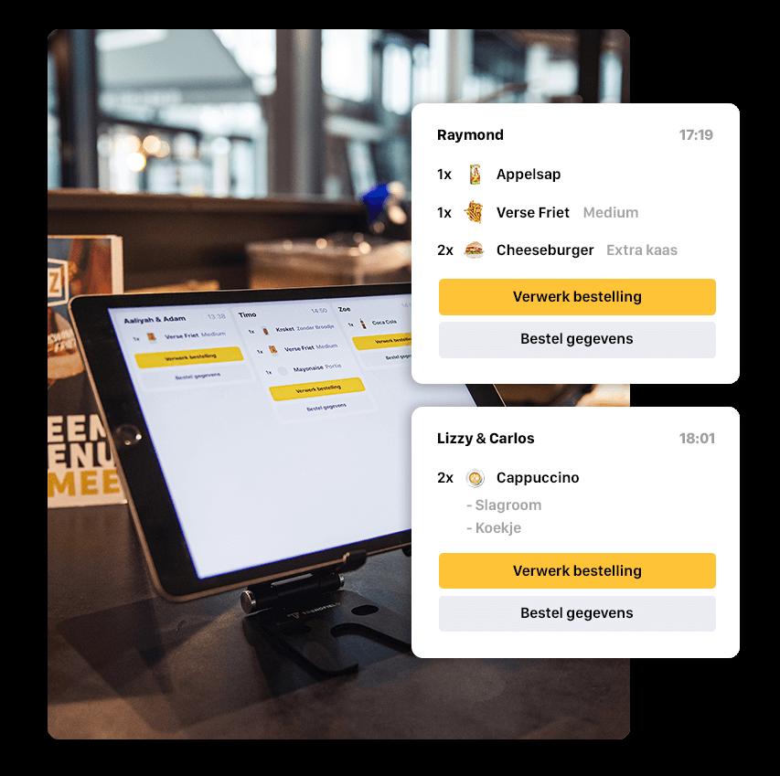Dit is de iPad van de Onesix Kiosk, welke werknemers gebruiken om via de bestelzuil binnengekomen orders te verwerken.
