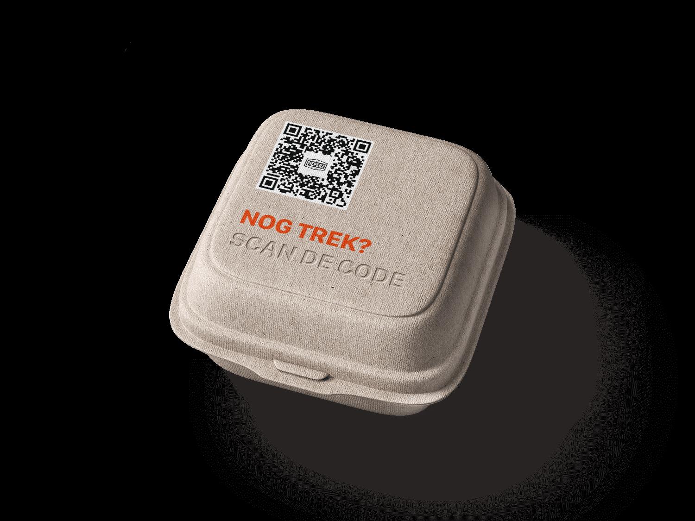 Een hamburger doosje met de Online QR code er bovenop geprint, waardoor gasten de volgende keer sneller kunnen bestellen