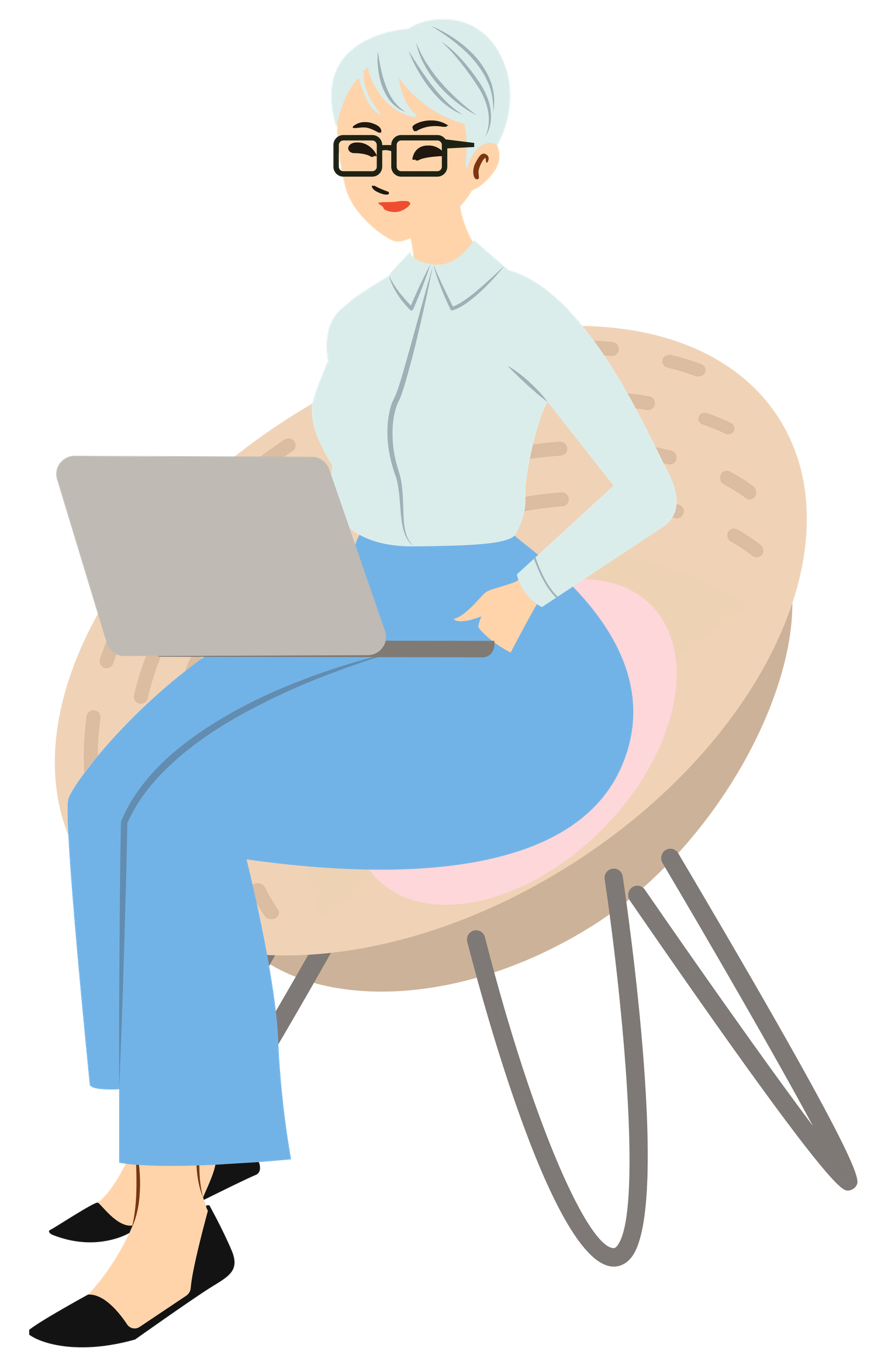 illustration of a grey haired woman on a laptop