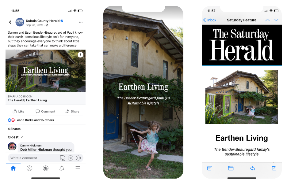 Three smart phone frames with screenshots from sharing a story on facebook, the web and in an email newsletter