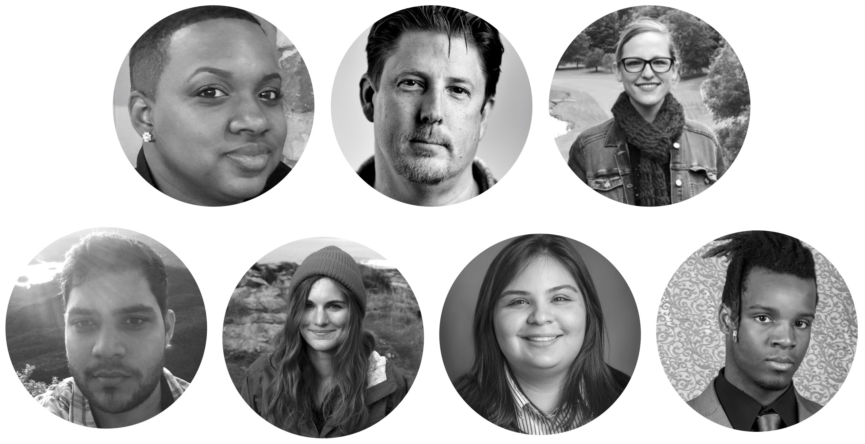 7 circles with headshots of users interviewed