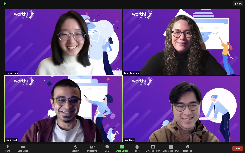 screenshot from Zoom of 4 team members