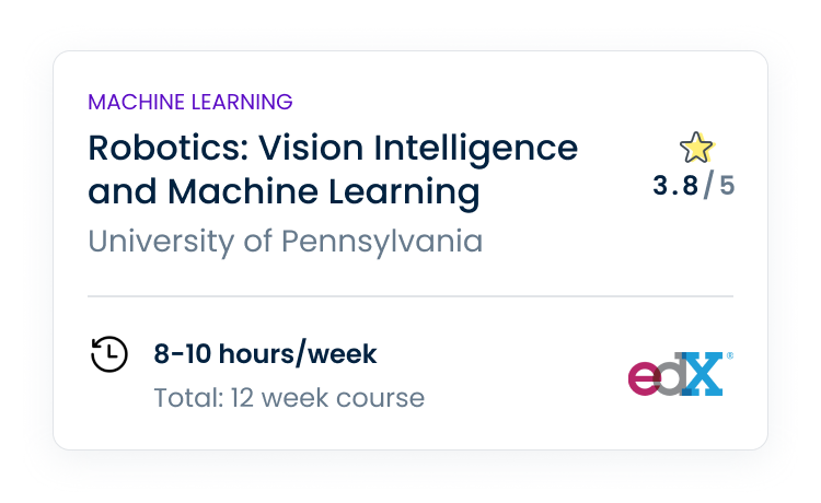 Machine learning course card