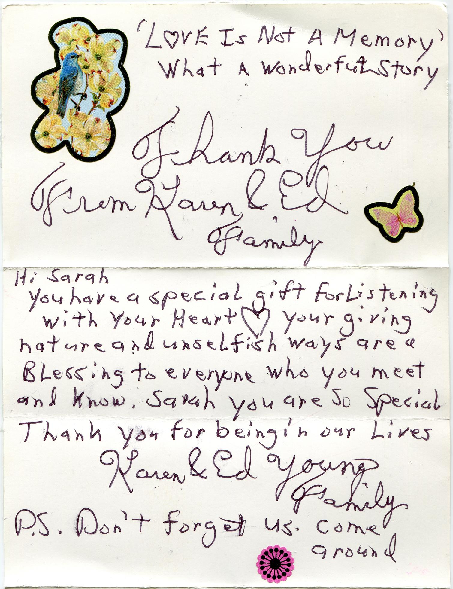 handwritten note from Ed