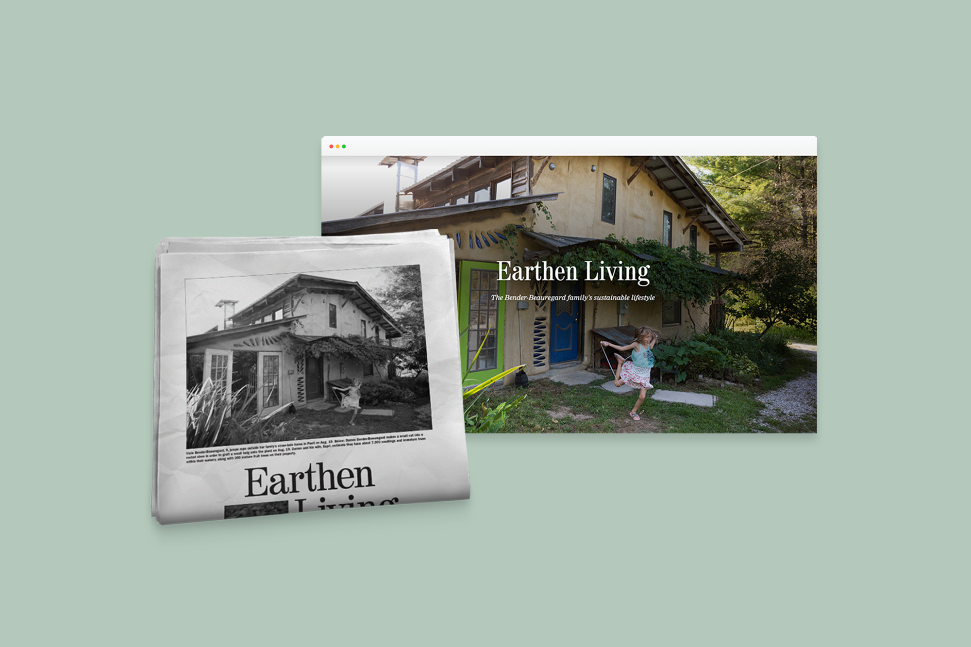 Mobile, newspaper and desktop of Earthen Living story, links to Community Journalism