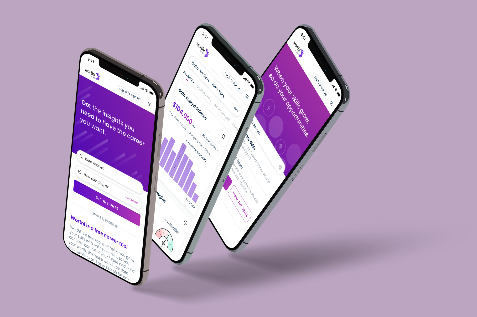 Mobile phones on purple background, links to Worthi by Citi
