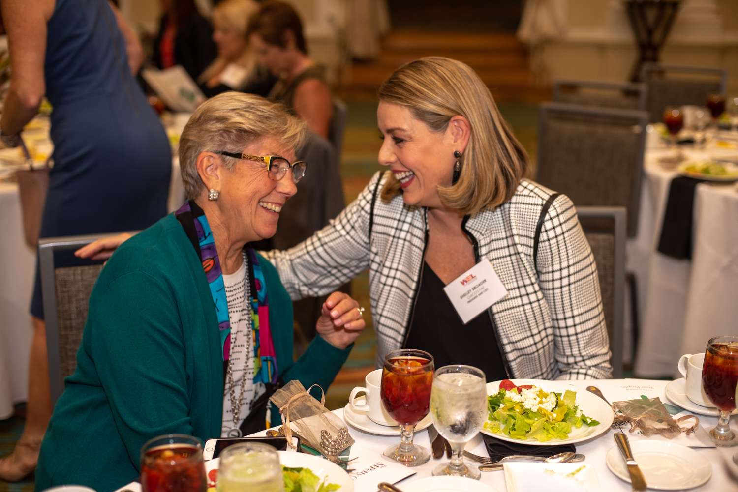 Marty Petty and Shelley Broader conversing at a luncheon