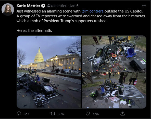 Screenshot of Twitter post depicting an attack on TV reporters outside of US Capitol.