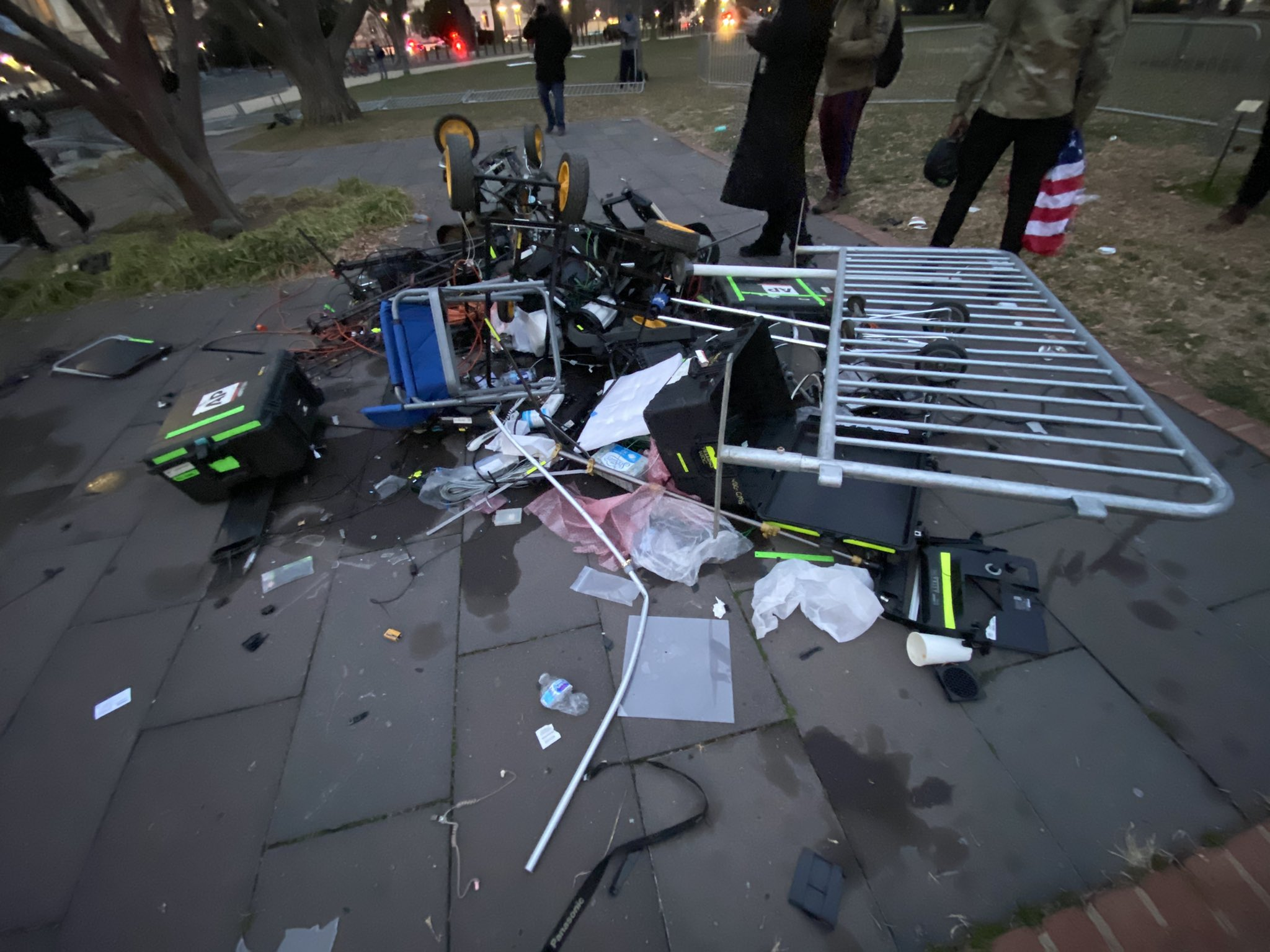 TV reporter camera equipment destroyed and trashed in front of US Capitol Building.