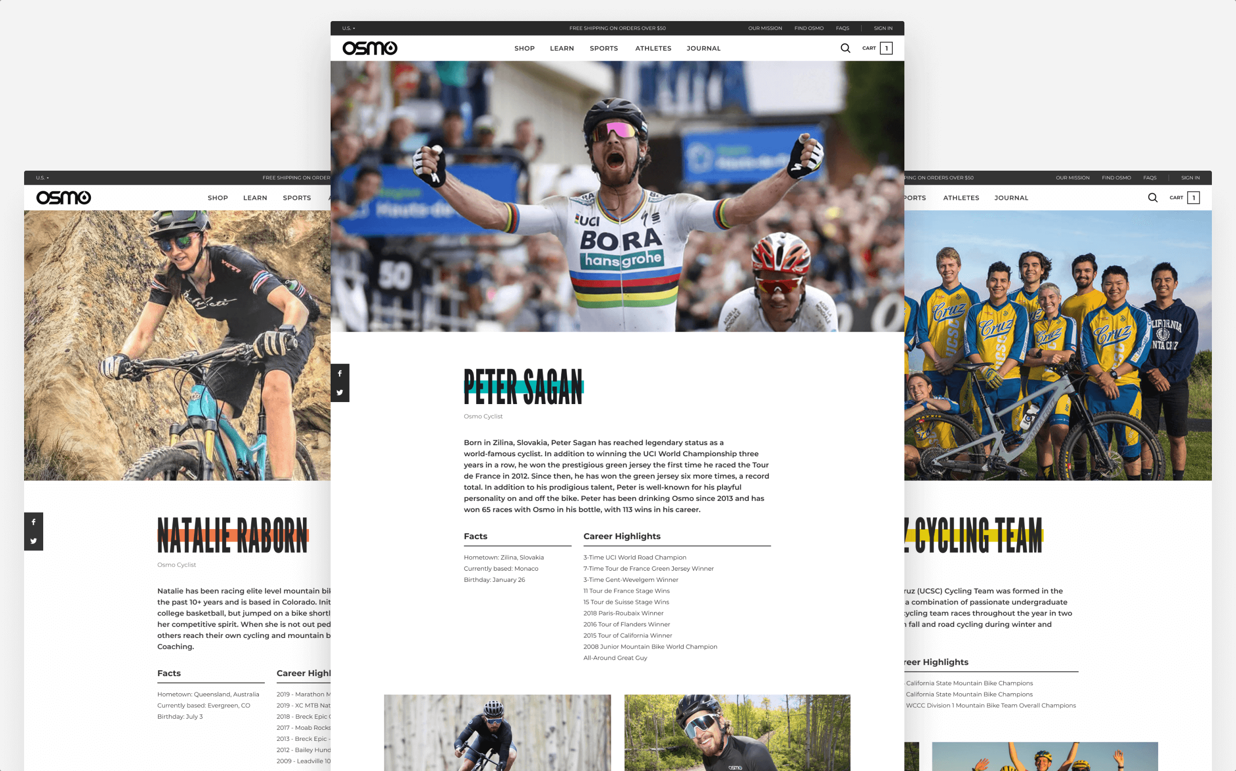 Three web pages with profiles of Osmo's sponsored athletes.