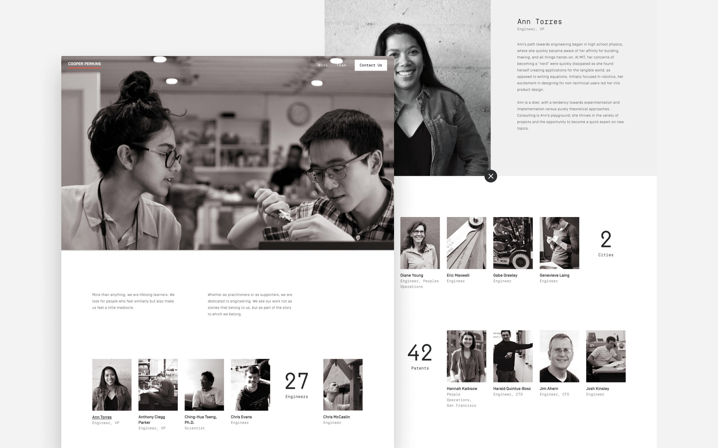 The final design for Cooper Perkins' About page shows profiles of their engineers.