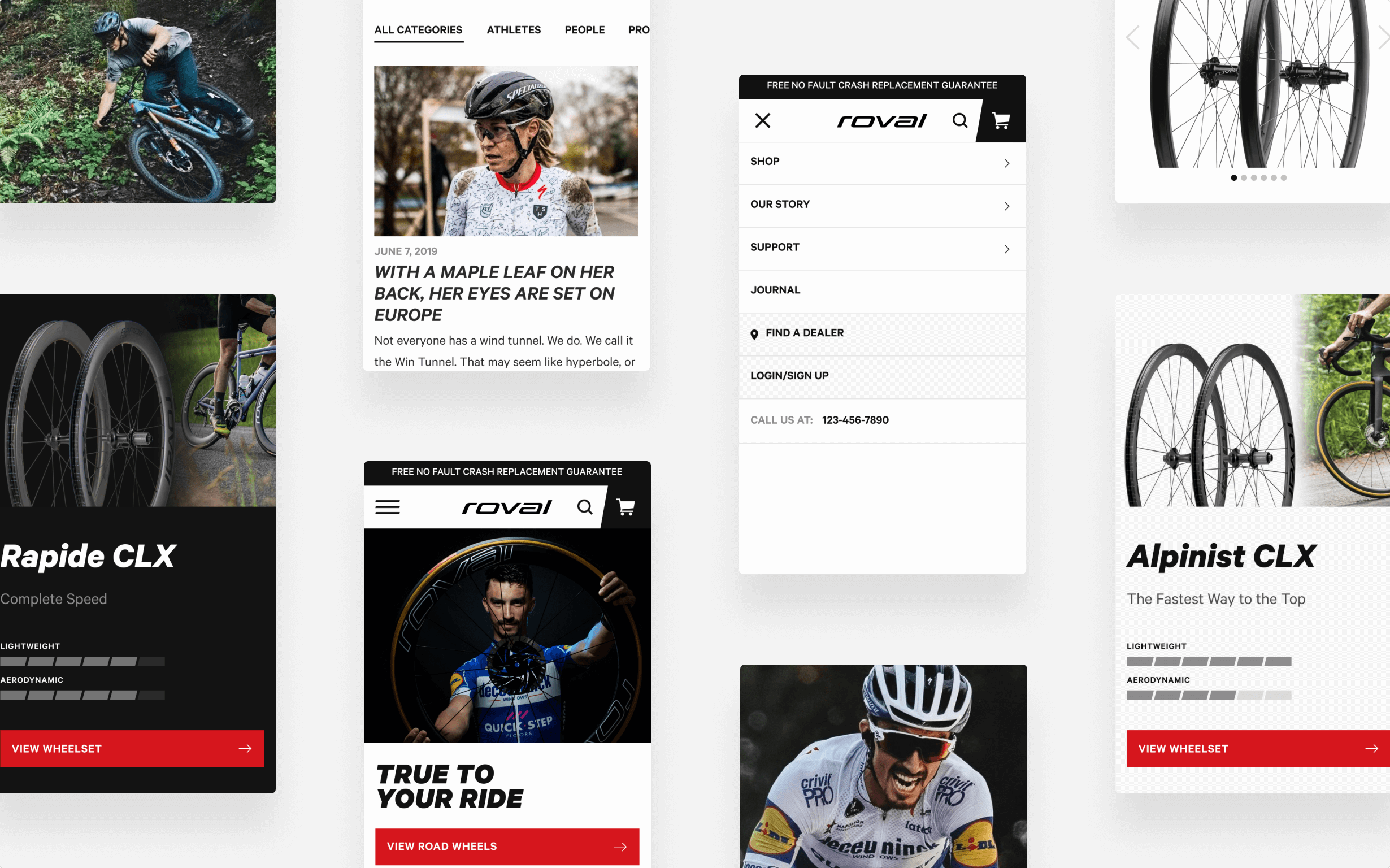 A collage of Roval's Journal and product pages on mobile devices tell stories about people and products.